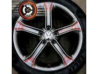 """17"""" Customised Genuine Techniks VW alloys refurb anthracite grey and red detail."""