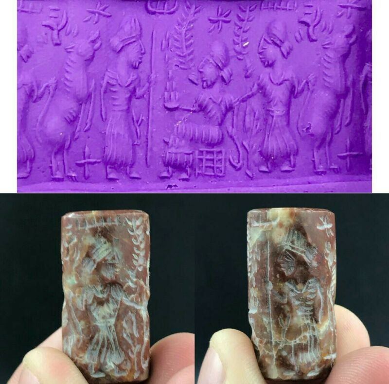 Ancient old Jasper Stone Cylinder Seal Kings Animals Worship Intaglio Seal bead