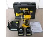 STANLEY HAMMER DRILL 18V BRAND NEW 2 BATTERIES LED LIGHT SEALED UNOPENED £59