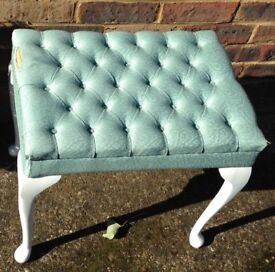 vintage stool with white legs green top
