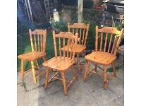Four Pine Chairs.