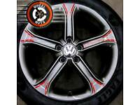 "17"" Customised Genuine Techniks VW alloys refurb anthracite grey and red detail."