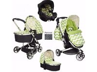 NEW Obaby Chase 3 in 1 Pram travel system Pushchair ZigZag Lime carrycot & carseat