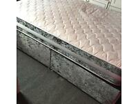 Silver Crushed Velvet Double Bed