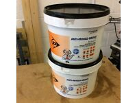 Dunlop anti-mould tile grout + microban for kitchens bathrooms power showers 2 x5Kg tubs white ivory