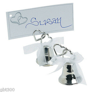 24 Silver Metal Place Card Holder Kissing Bell Wedding Two Heart Table Decor Lot