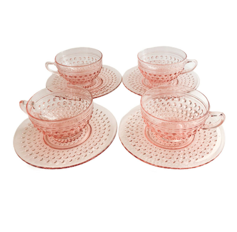 Anchor Hocking Pink Hobnail Depression Glass Set Of 4 Teacups & Saucers