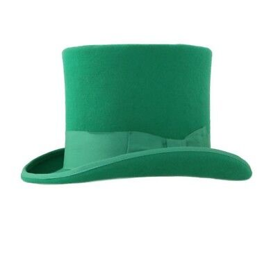 New Premium 100% Wool Green Top Hat Halloween Classic Victorian Dickens Costume  (Top 100 Halloween Costumes)