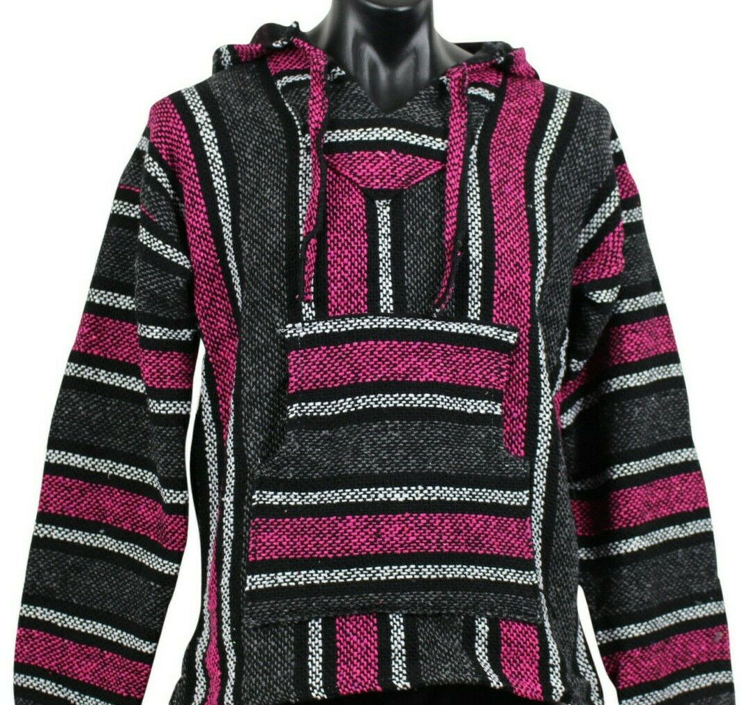 New Mexican Poncho Baja Hoodie Surfer Drug Rug Pullover Made in Mex Unisex Rasta