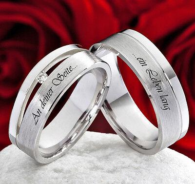 Eheringe Verlobungsringe Partnerringe 925 Silber mit Diamant Lasergravur SLB42