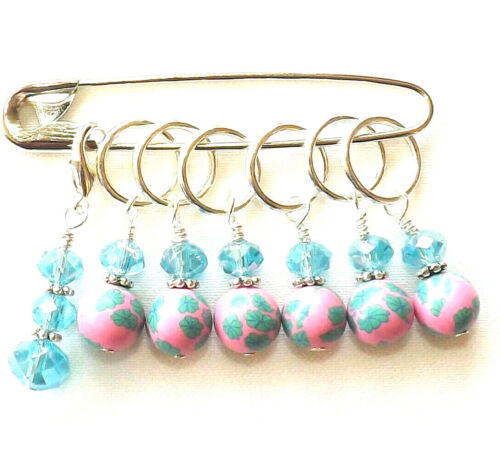 KNITTING ACCESSORIES STITCH MARKERS. POLYMER CLAY BEADS.  HANDMADE # 163