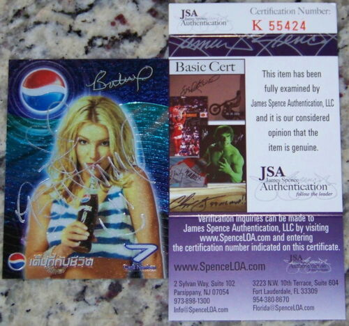 Britney Spears Signed Autographed Photo Card JSA COA RARE FULL NAME AUTOGRAPH!