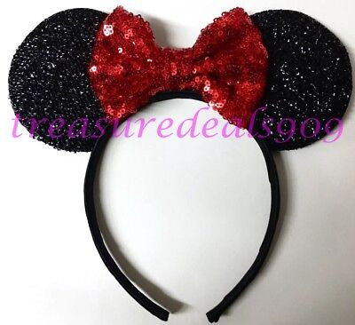 Minnie Mouse Ears Adult (MINNIE MOUSE EARS HEADBAND BLACK WITH BIG RED SPARKLY BOW CHILD ADULT PARTY)