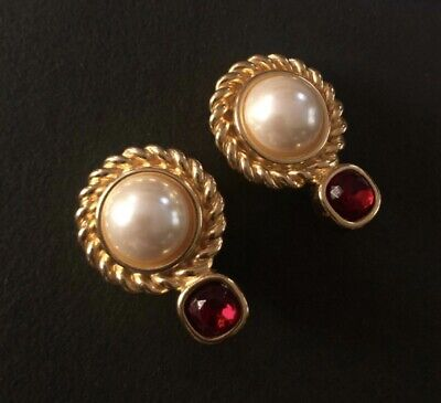 Vintage Designer signed Givenchy Goldtone Faux Pearl Clip Earrings Beautiful