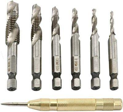 "1/4"" Hex Shank HSS Spiral Screw Thread Taps Drill Bits Set w/ Auto Punch Tool"