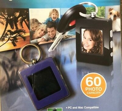 Digital Photo Album Keychain Rechargeable USB Cable LCD 60 Photo Purple Shift3