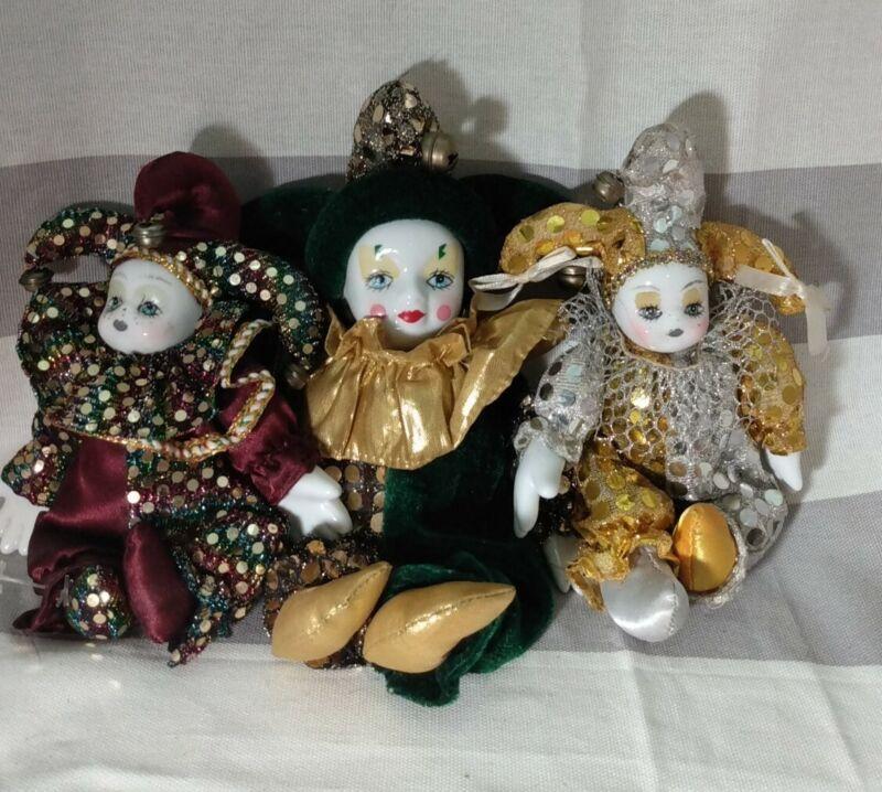 VINTAGE Porcelain Head/Hands HARLEQUIN JESTER Dolls set of 3 sand filled