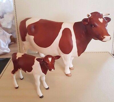 Very Rare Beswick RED AND WHITE MATT Friesian Cow and Calf - 1249C and 1362B