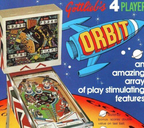 Gottlieb Orbit Pinball FLYER Original 1972 NOS Game Space Age Planets Astronaut
