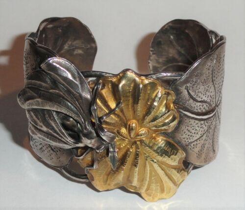 Vintage Modernist Margaret Barnaby Laws Sterling Silver & 18K Gold Cuff Bracelet