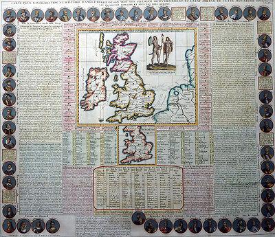CARTE POUR L´INTRODUCTION A L´HISTOIRE D´ANGLE TERRE GREAT BRITAIN CHATELAIN1720
