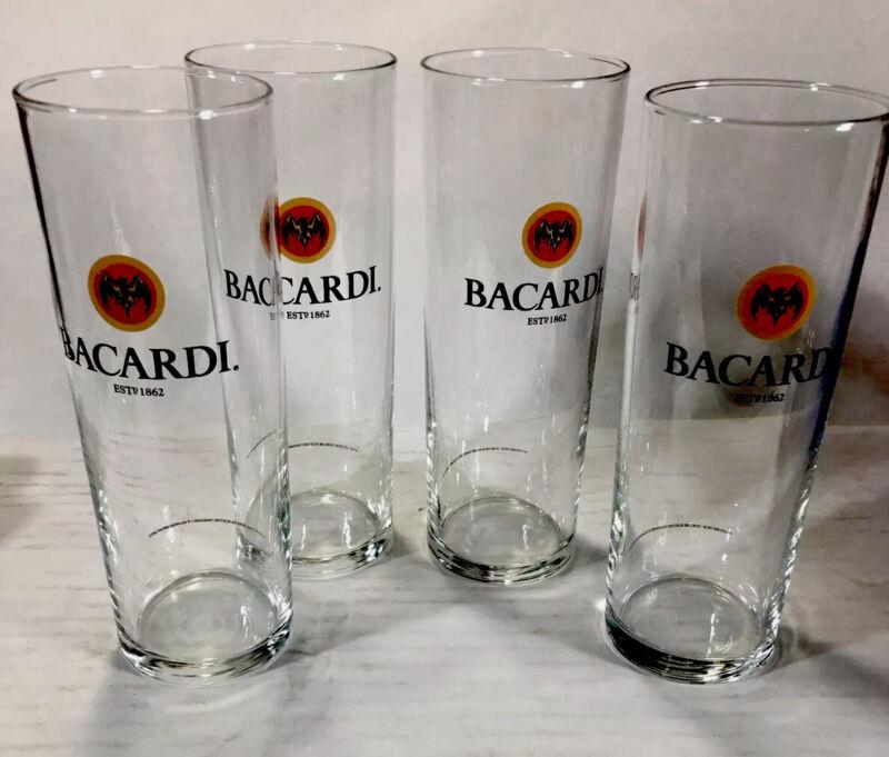 (4) BACARDI RUM TALL GLASSES BAT LOGO DESIGN EST 1862