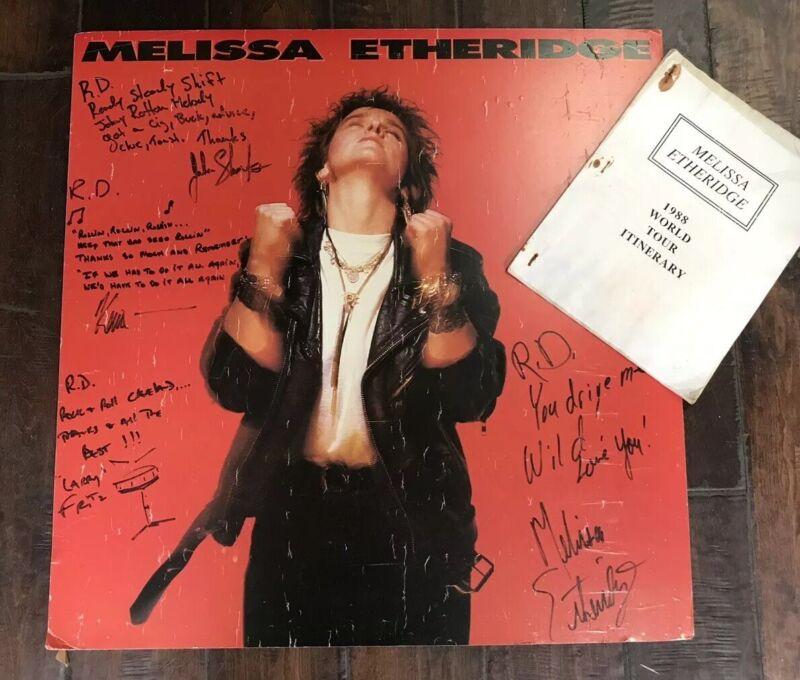 Rare Vintage Melissa Etheridge Autographed Poster & World Tour Itinerary 80