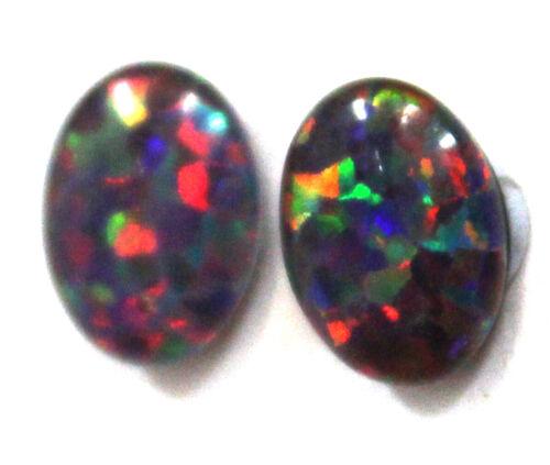 10x8mm Loose Stones Pair Of Natural Black Triplet Opal Stones For Earring N1