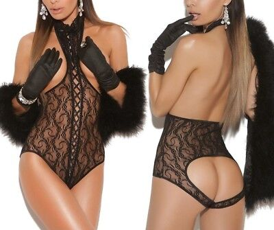 Cupless Teddy Bodysuit Lace Up Front Open Back Bust Bottomless Lingerie