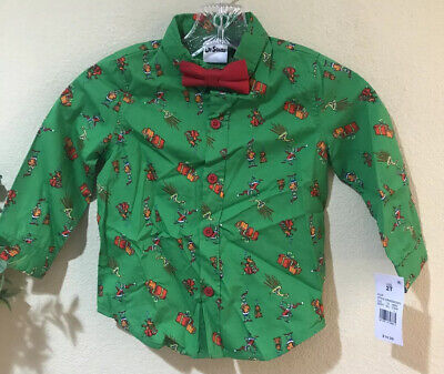 Dr Seuss How The Grinch Stole Christmas Button Down Shirt Bow Tie Sz 2T z5