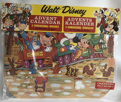 Vintage Disney Christmas 3D Advent Calendar Mickey Mouse Donald Duck Santa NOS
