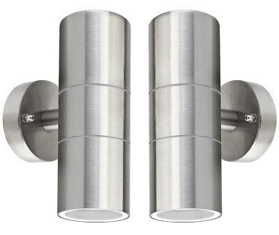 2 x Stainless Steel Up Down WallLight GU10 IP65 Double Outdoor Wall Light ZLC03