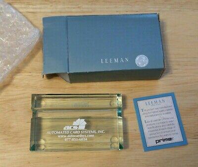 Leeman Prime Line Atrium Cut Glass Desktop Business Card Holder