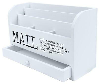Juvale 3 Tier Wooden Mail Desktop Organizer Sorter With Storage Drawer - For