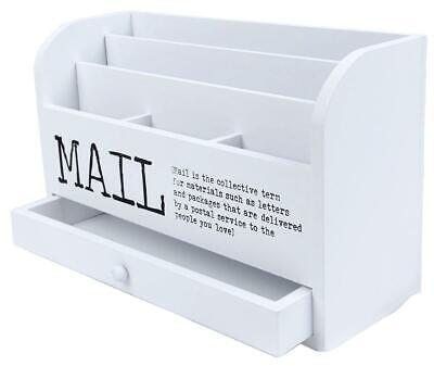 Juvale 3 Tier Wooden Mail Desktop Organizer Sorter With Storage Drawer - For