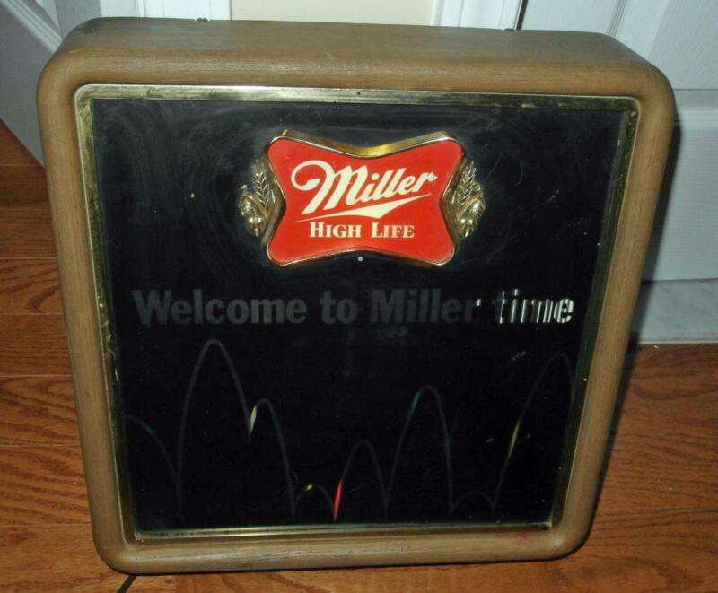 """VINTAGE """"WELCOME TO MILLER TIME"""" ANIMATED LIGHTED SIGN RARE"""