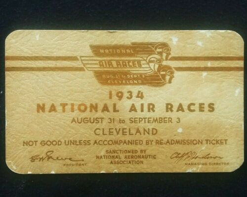 1934 National Championship Air Races Pass Cleveland, OH
