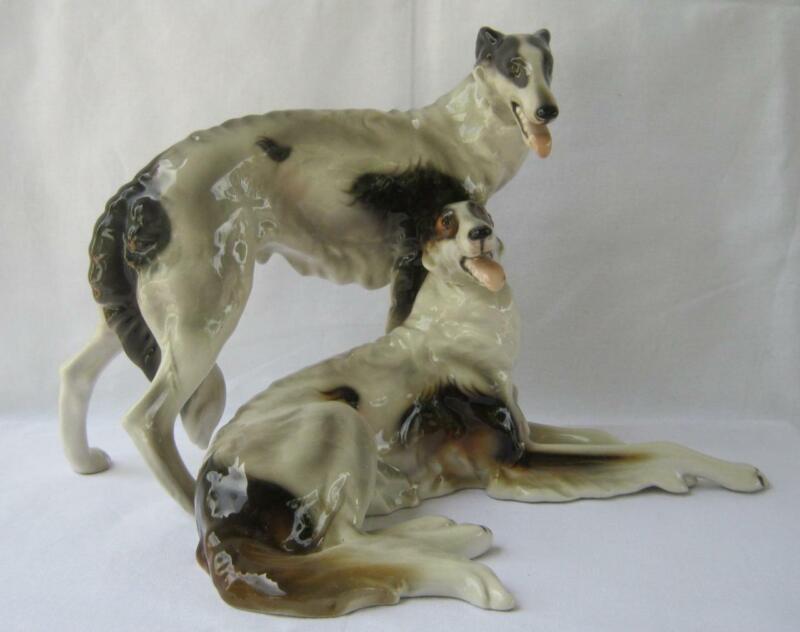 Large Keramos Glass Porcelain Art Deco Pair of Borzoi Dogs Wien Austria  Vienna