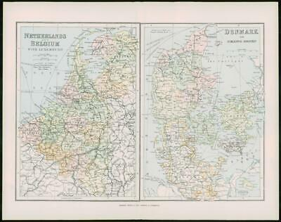 1903 Original Antique Colour Map - NETHERLANDS BELGIUM DENMARK (20)