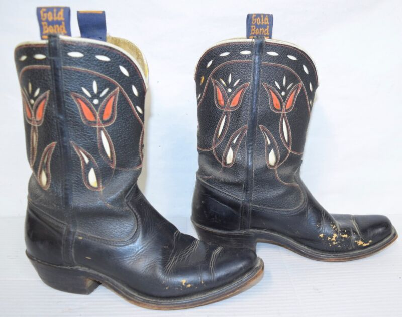 Vintage Cowboy Western Boots GOLD BOND Rodeo Pee Wee Inlay Shorty Black