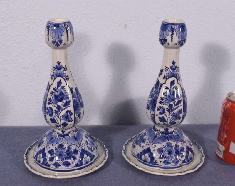 Antique Porceleyne Fles Delft Candlesticks Tin Glazed Faience Dated 1951