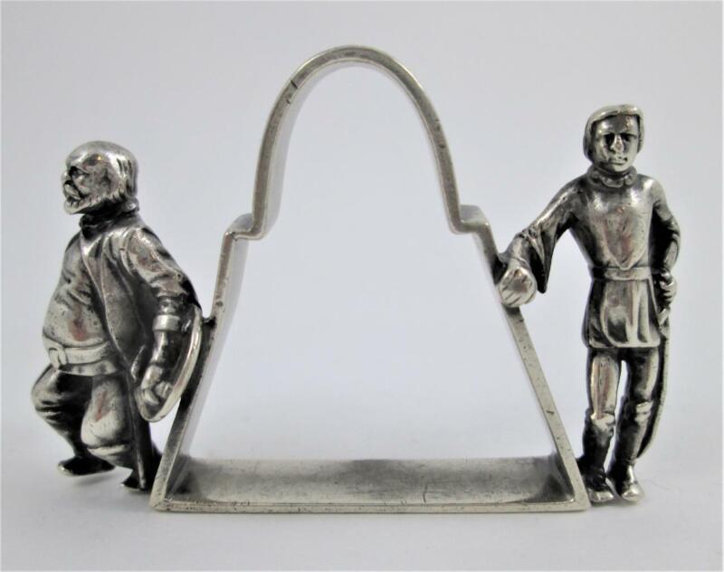 MEDIEVAL Swordsmen - Antique Figural Napkin Ring - Robin Hood & Friar Tuck?