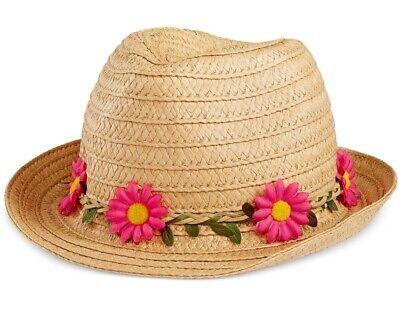 (FEDORA BEACH HAT Flower Headband Natural Pink Straw Collection XIIX - NWT)