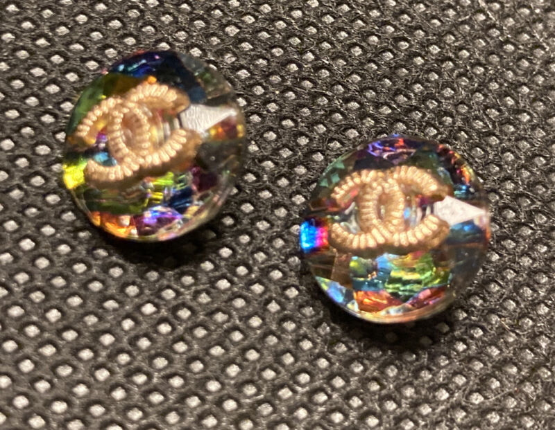 Chanel Classic 2pc Vtg Rhinestone Aurora Borealis Button 12mm Multi Color Glass