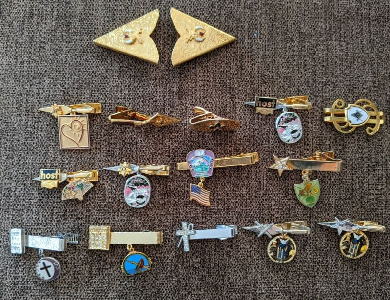 Lot Of Vintage Shriner Tie Bar Clasps Clips Collar Tips