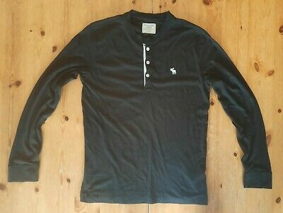 Men's Abercrombie & Fitch Black Henley Neck Light Long Sleeve Top - Size Small