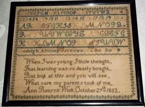 Antique Alphabet & Verse Sampler, by Ann Bourn 1852, British? Nice Condition