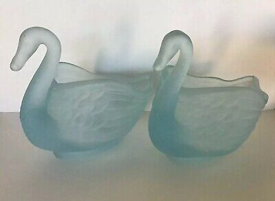Pr. Pastel Blue Satin Glass Swans Signed Lenox? Small Bowls Wedding Tea (Lenox Glass Bowls)