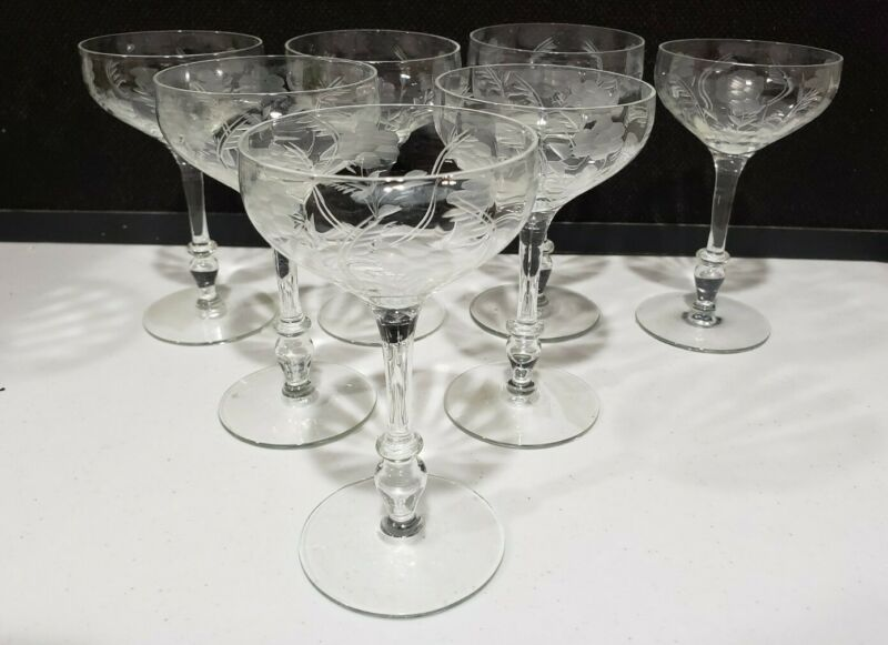 7- Vintage Wheel Cut Flowers TALL CHAMPAGNE Glasses Etched Cocktail Stemware