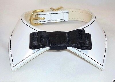 Designer Dog Collar White Patent Leather Black Bow Tie Premium USA handcrafted Handcrafted Leather Dog Collar